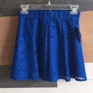 Girls Royal blue triangle patterned skater skirt